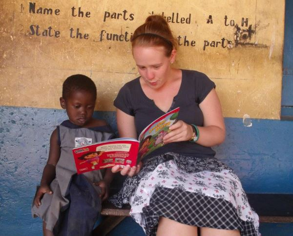 AV volunteer Holly providing one-to-one English and reading lessons