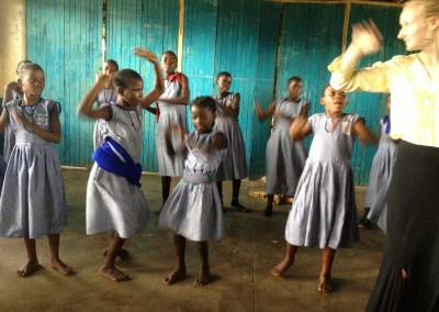 AV Celia and class dancing at Busesa School