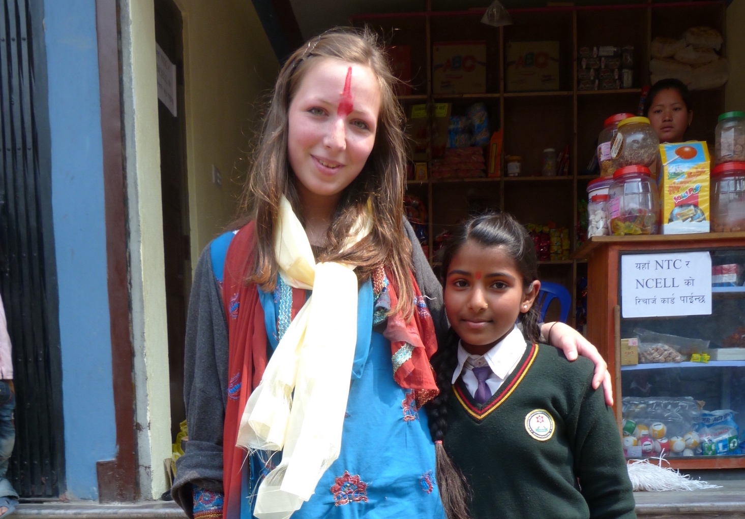 Making friends with the local children on a Gap Year in Nepal.