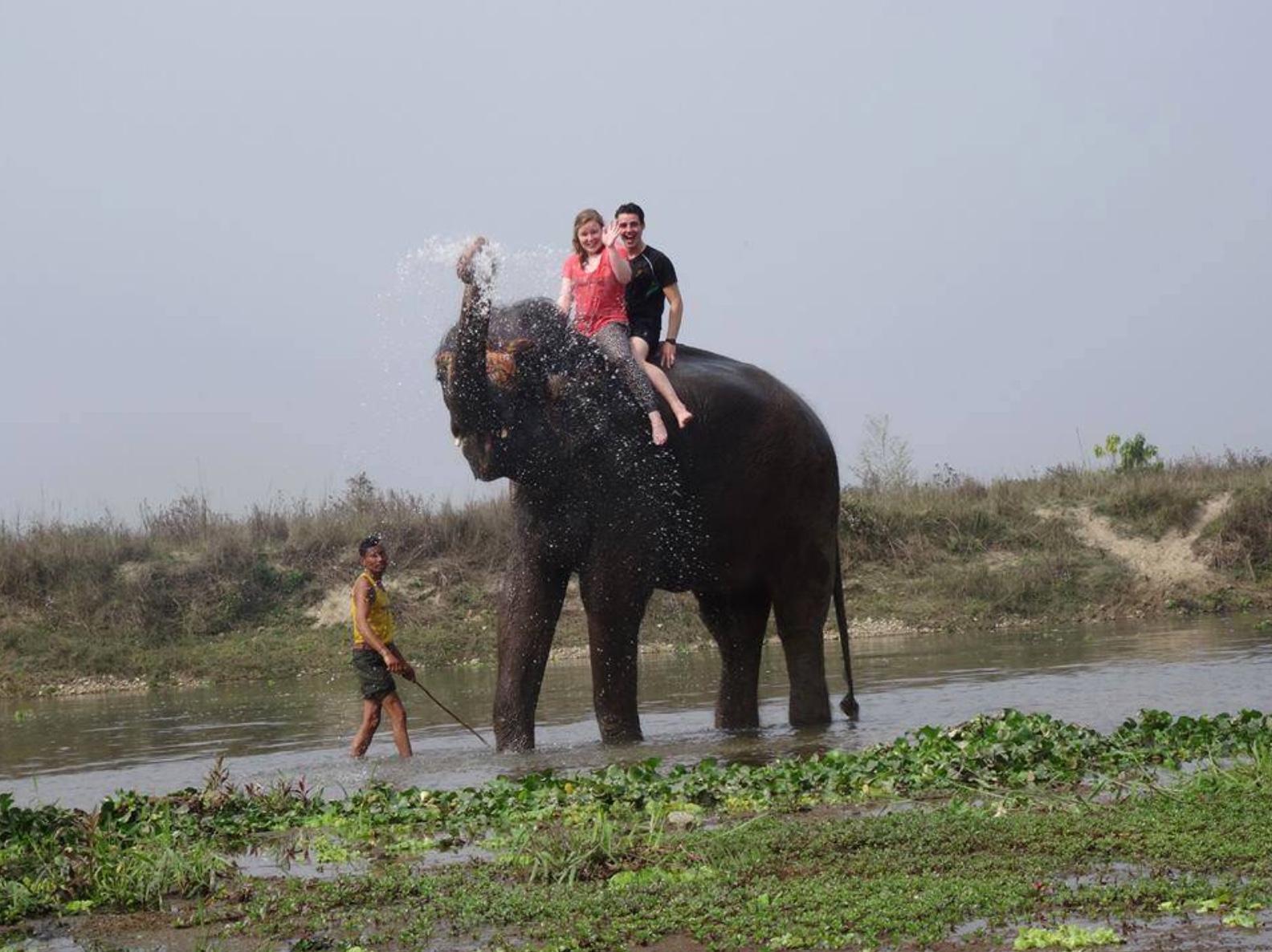 Riding on elephants in Nepal